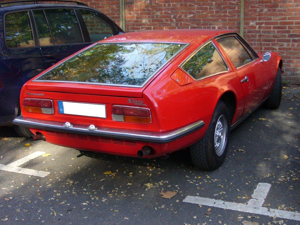-eines-maserati-indy-1969-- Heckansicht eines Maserati Indy. 1969 ...