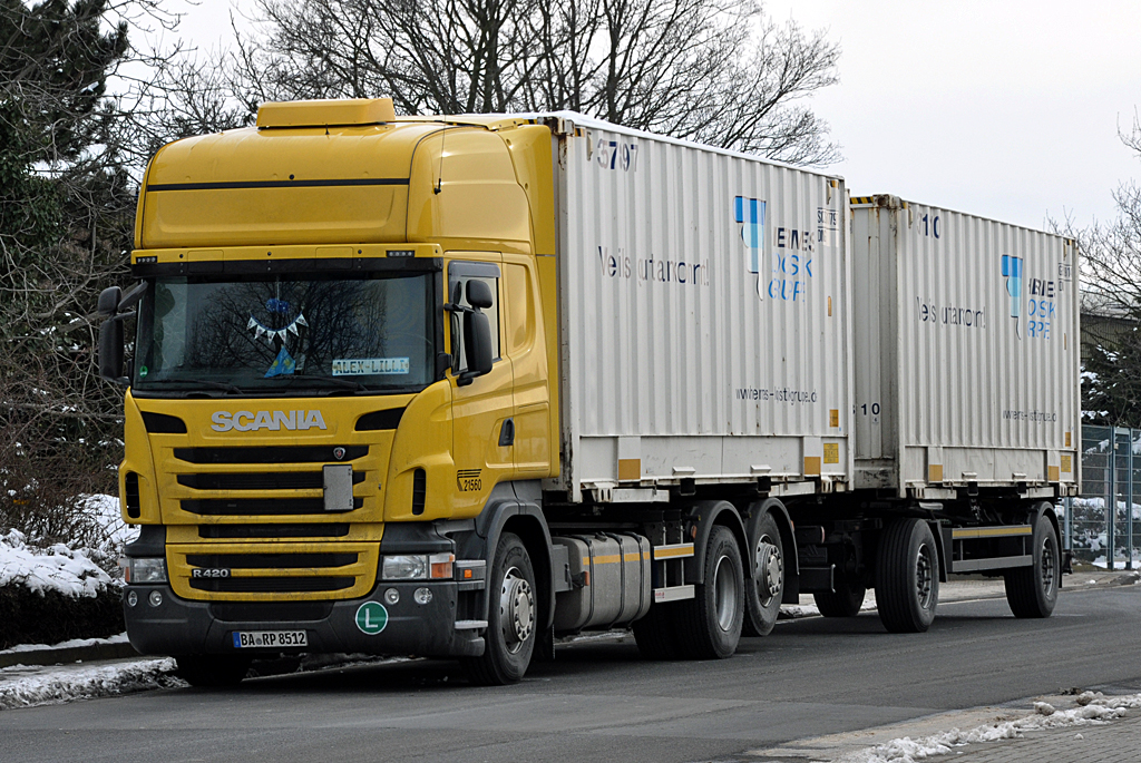 Scania R 420 Container-Hängerzug in Euskirchen - 26.01.2013