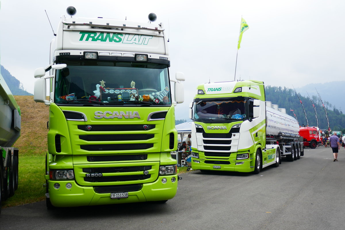 2 Scania von TransLait am 24.6.17 am Trucker Festival in Interlaken.