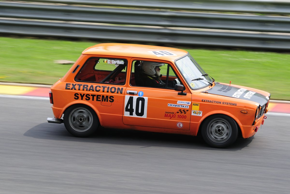 Autobianchi A112 Abarth 58 HP auf dem Formel 1-Kurs von Spa-Francorchamps, beim Youngtimer Festival Spa 22-24 July 2016