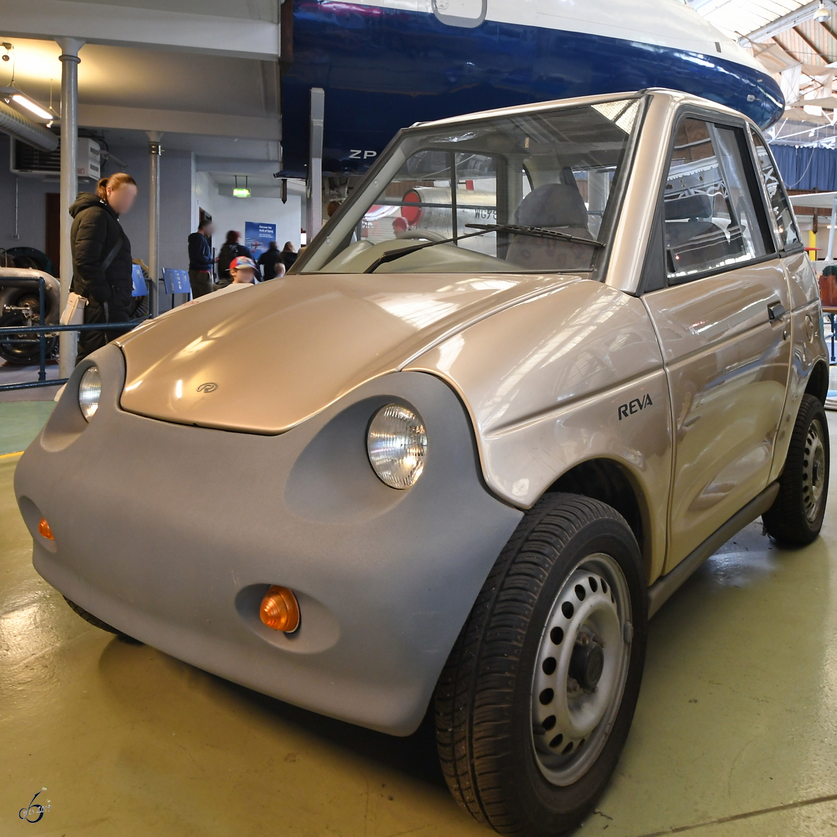 Das Elektro-Auto Reva G-Wiz Anfang Mai 2019 im Museum of Science and Industry in Manchester.