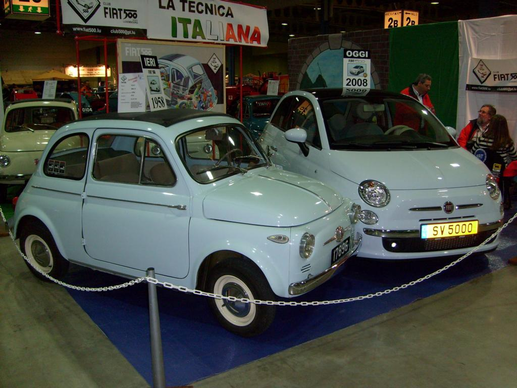fiat 500 alt und neu im vergleich beim autojumble in. Black Bedroom Furniture Sets. Home Design Ideas