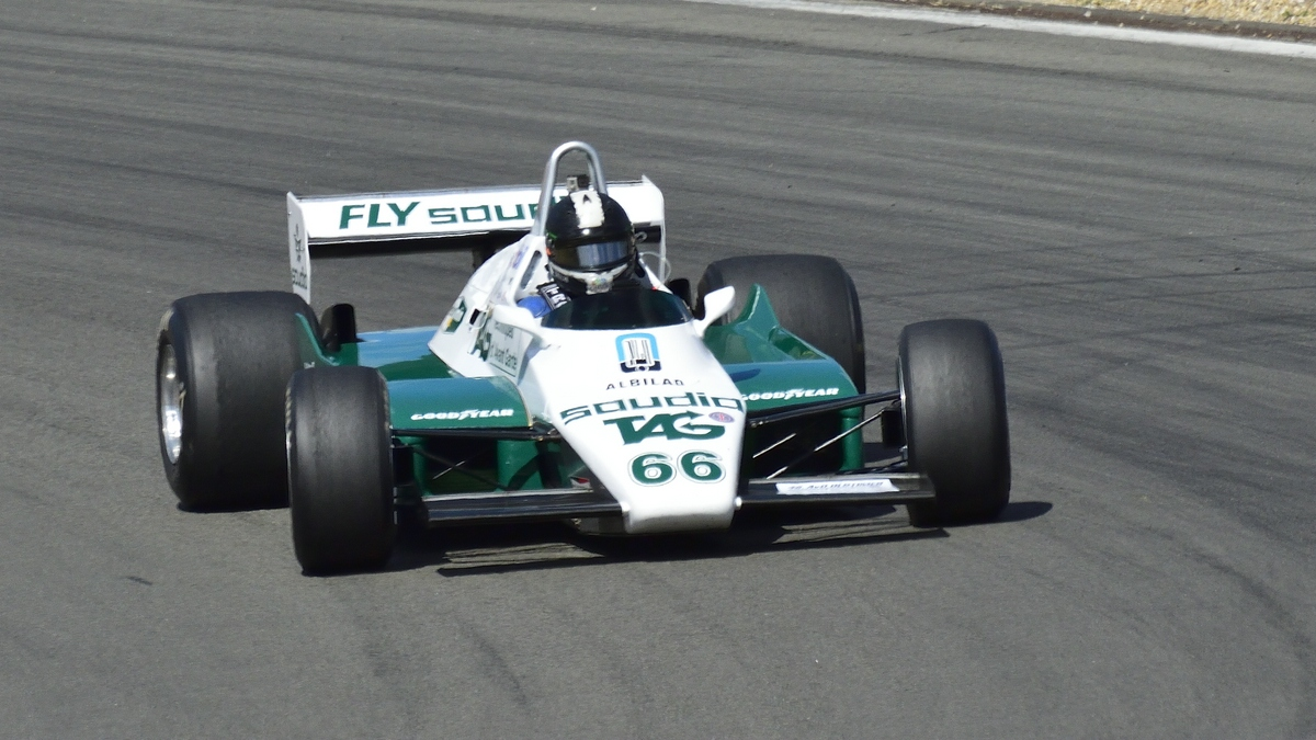 Frontalaufnahme Williams FW08, Bj.1982 ,Fahrer: Dreelan, Tommy, IT. 46. AvD-Oldtimer-Grand-Prix 2018, FIA Masters Historic Formula One Championship am 11.Aug.2018