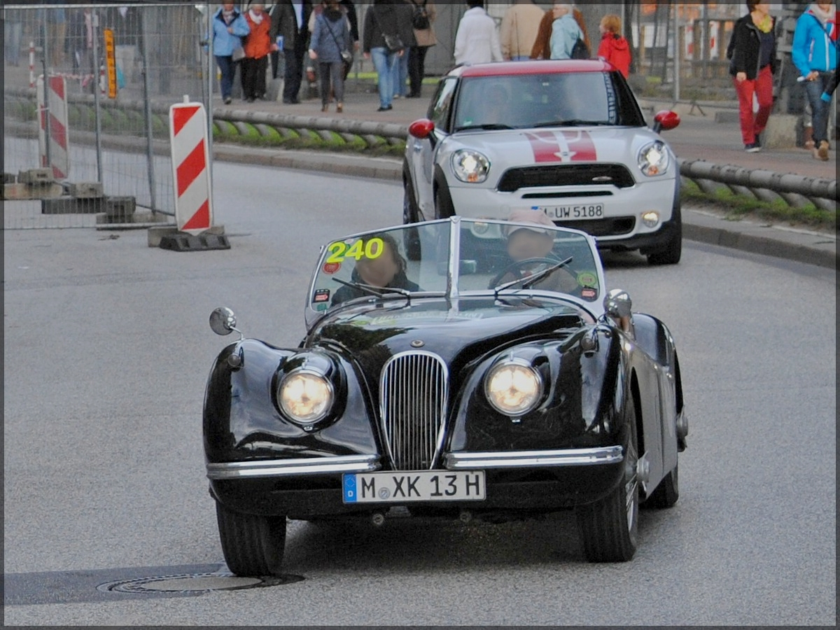 jaguar xk 120 cabrio bj 1956 3442 ccm 165 ps mit der startnummer 114 bei der 6 hamburg. Black Bedroom Furniture Sets. Home Design Ideas