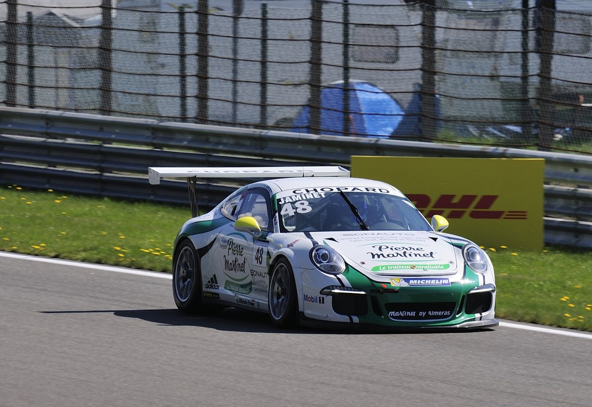 Nr.48 Team Martinet by Alméras, Mathieu Jaminet auf Porsche 991 GT3 Cup, Porsche Carrera Cup France, 7.5.2016 in Spa Francorchamps
