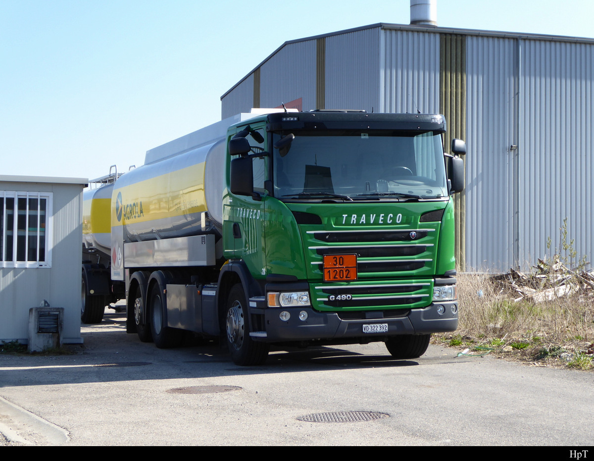 Scania R 490 Tanklastwagenm in Avenches am 30.03.2019