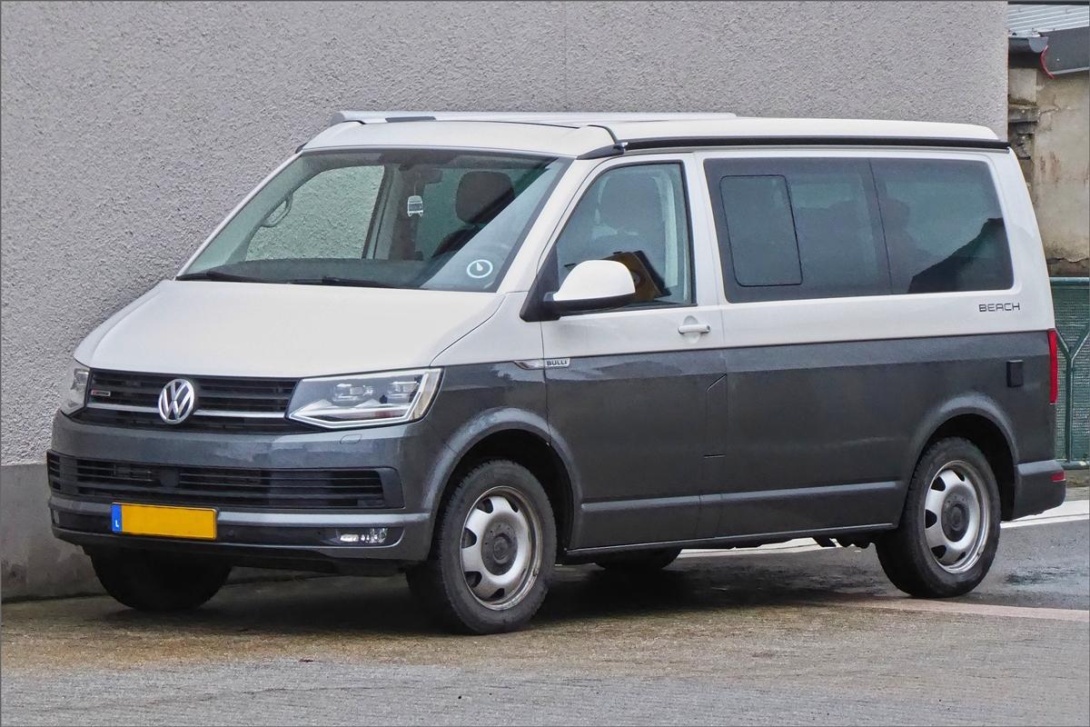 VW T6 Bulli stand am Strassenrand. 02.2019 - Fahrzeugbilder.de