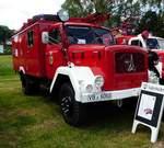 =Magirus-Deutz als Feuerwehrfahrzeug der Fw. Feuerwehr FREIENSTEINAU steht im Mai 2017 in der Burgenstadt Schlitz