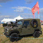 Ein Land Rover Defender Mitte Juli 2018 in Fairford.
